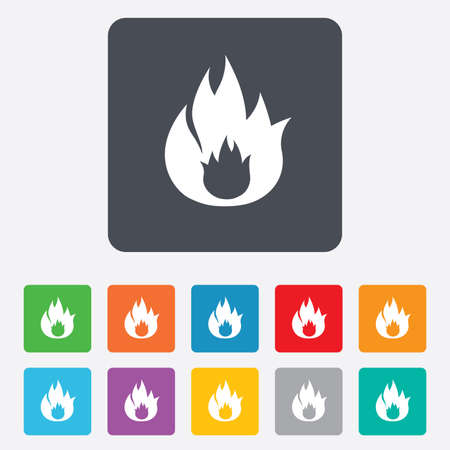 fire escape: Fire flame sign icon. Fire symbol. Stop fire. Escape from fire. Rounded squares 11 buttons. Vector