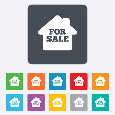 For sale sign icon. Real estate selling. Rounded squares 11 buttons. Vector Vector