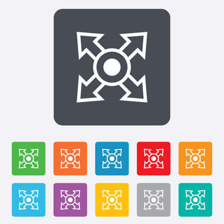 Fullscreen sign icon. Arrows symbol. Icon for App. Rounded squares 11 buttons. Vector Vector