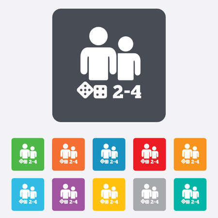 Board games sign icon. From two to four players symbol. Dice sign. Rounded squares 11 buttons. Vector Vector