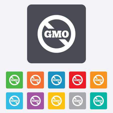 genetically: No GMO sign icon. Without Genetically modified food. Stop GMO. Rounded squares 11 buttons. Vector