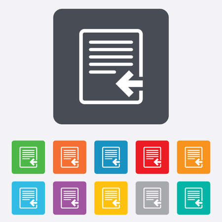 Import file icon. File document symbol. Rounded squares 11 buttons. Vector Vector