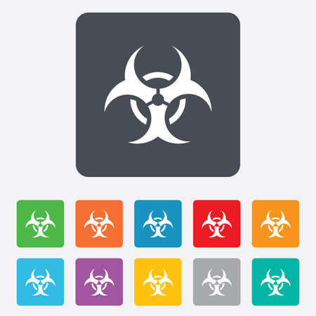 Biohazard sign icon. Danger symbol. Rounded squares 11 buttons. Vector Vector