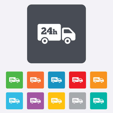 delivery service: 24 hours delivery service. Cargo truck symbol. Rounded squares 11 buttons. Vector