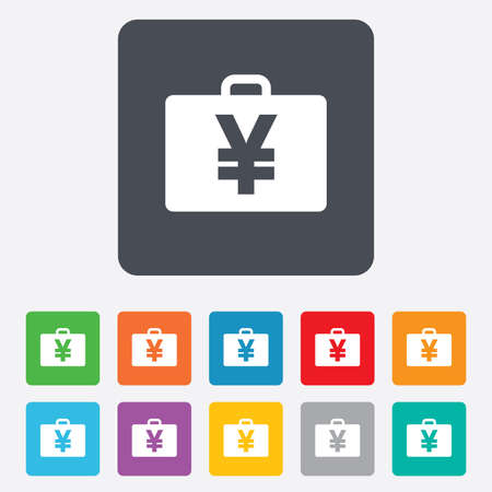 jpy: Case with Yen JPY sign icon. Briefcase button. Rounded squares 11 buttons. Vector