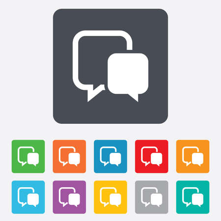 Chat sign icon. Speech bubble symbol. Communication chat bubble. Rounded squares 11 buttons. Vector