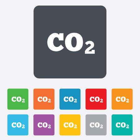 CO2 carbon dioxide formula sign icon. Chemistry symbol. Rounded squares 11 buttons. Vector Vector