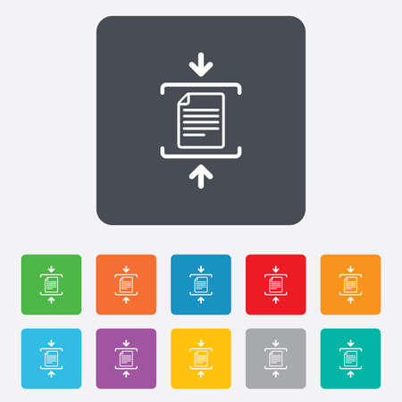 zipped: Archive file sign icon. Compressed zipped file symbol. Arrows. Rounded squares 11 buttons. Vector Illustration