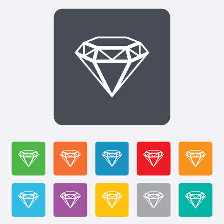Diamond sign icon. Jewelry symbol. Gem stone. Rounded squares 11 buttons. Vector Vector