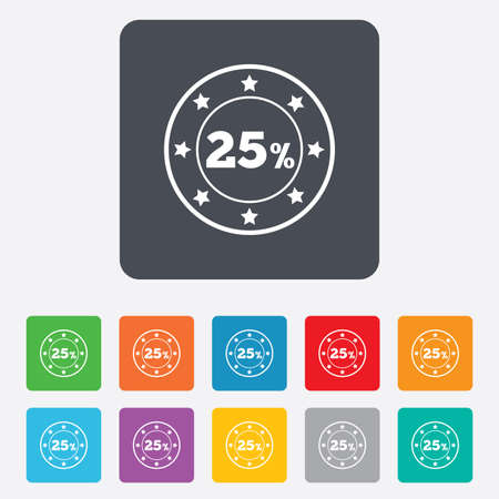 25 percent discount sign icon. Sale symbol. Special offer label. Rounded squares 11 buttons. Vector Vector