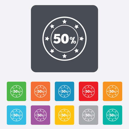 50 percent discount sign icon. Sale symbol. Special offer label. Rounded squares 11 buttons. Vector Vector