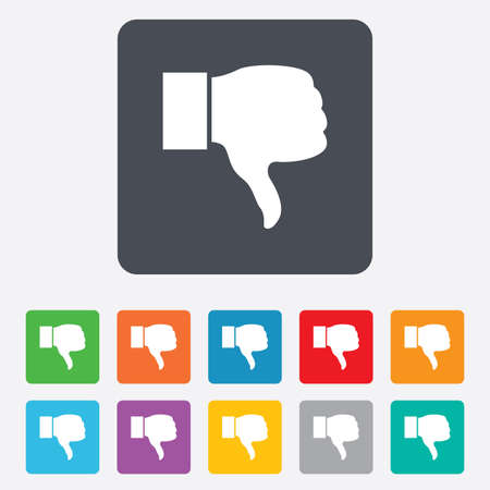 Dislike sign icon. Thumb down sign. Hand finger down symbol. Rounded squares 11 buttons. Vector Vector