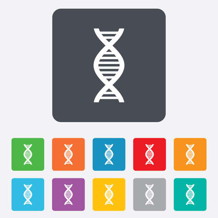 DNA sign icon. Deoxyribonucleic acid symbol. Rounded squares 11 buttons. Vector