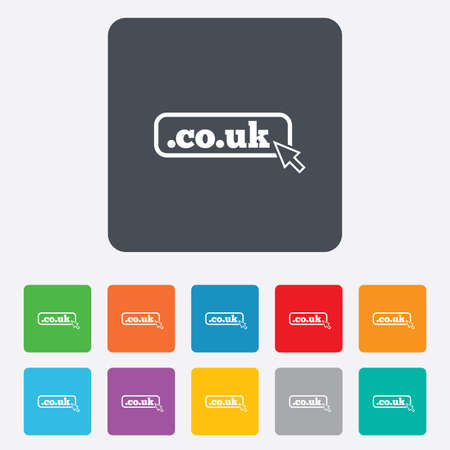 subdomain: Domain CO.UK sign icon. UK internet subdomain symbol with cursor pointer. Rounded squares 11 buttons. Vector Illustration