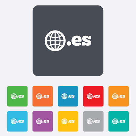 vector es: Domain ES sign icon. Top-level internet domain symbol with globe. Rounded squares 11 buttons. Vector