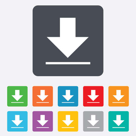 Download icon. Upload button. Load symbol. Rounded squares 11 buttons. Vector