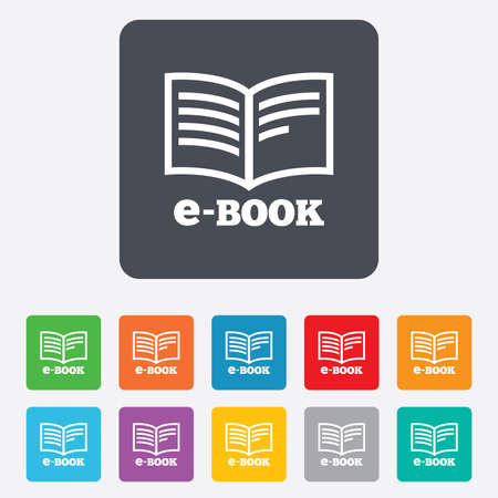 electronic device: E-Book sign icon. Electronic book symbol. Ebook reader device. Rounded squares 11 buttons. Vector Illustration