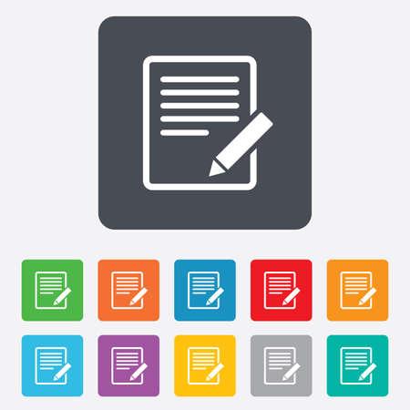 Edit document sign icon.  Illustration