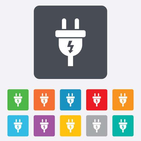 plug electric: Icono de signo de enchufe el�ctrico.