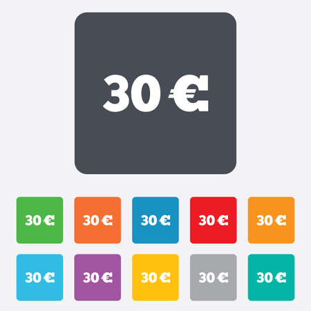 eur: 30 Euro sign icon. EUR currency symbol. Money label. Rounded squares 11 buttons. Vector