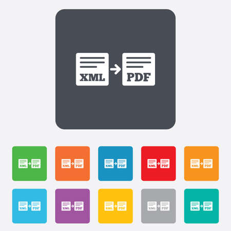 xml: Export XML to PDF icon. File document symbol. Rounded squares 11 buttons. Vector