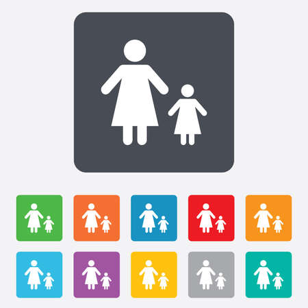 one parent: One-parent family with one child sign icon. Mother with daugther symbol. Rounded squares 11 buttons. Vector