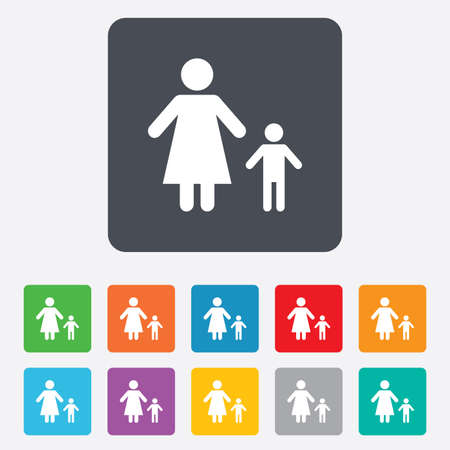 one parent: One-parent family with one child sign icon.  Illustration