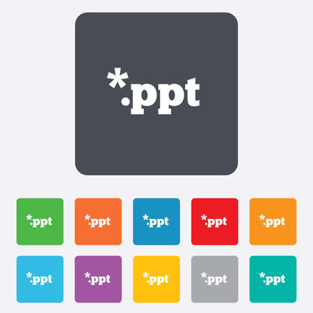 File presentation icon. Download PPT button. PPT file extension symbol. Rounded squares 11 buttons. Vector Vector