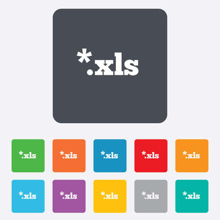 excel: Excel file document icon. Download xls button. XLS file extension symbol. Rounded squares 11 buttons. Vector Illustration