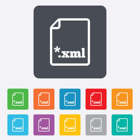xml: File document icon. Download XML button. XML file extension symbol. Rounded squares 11 buttons. Vector Illustration
