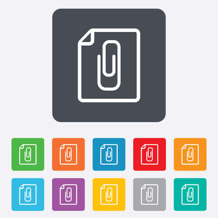 attach: File annex icon. Paper clip symbol. Attach symbol. Rounded squares 11 buttons. Vector Illustration