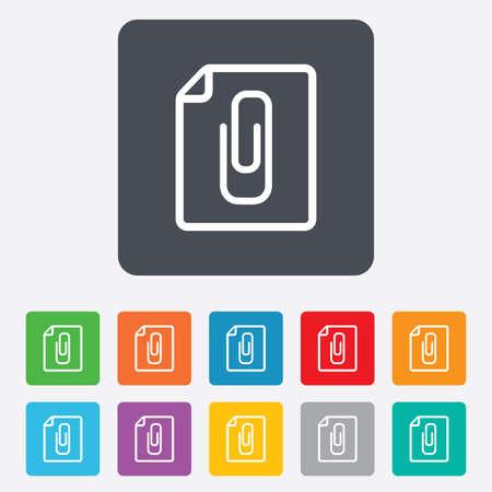 załączyć: Złożyć załącznik ikonę. Spinacz symbol. Dołączyć symbol. Zaokrąglone kwadraty 11 przycisków. Wektor
