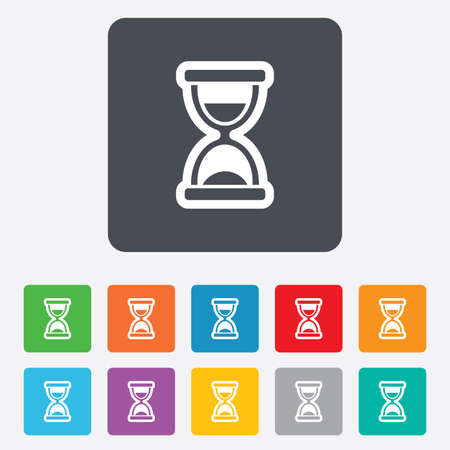 corner clock: Hourglass sign icon. Sand timer symbol. Rounded squares 11 buttons. Vector Illustration