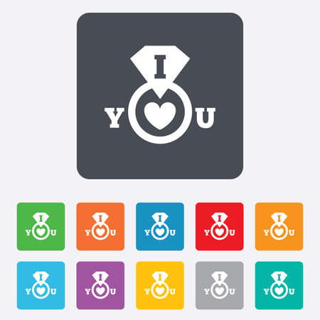 i love you sign: I Love you sign icon. Valentines day symbol. Rounded squares 11 buttons. Vector