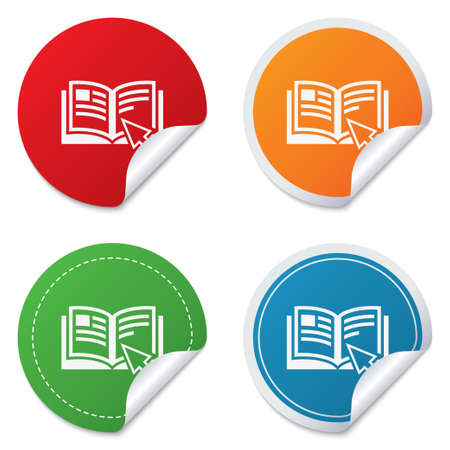 Instruction sign icon. Manual book symbol. Read before use. Round stickers. Circle labels with shadows. Curved corner. Vector Stock Vector - 27736181
