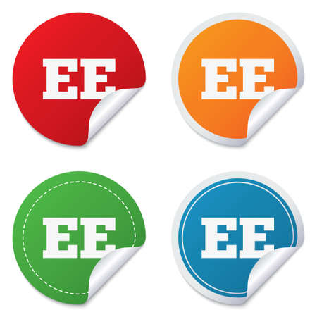 ee: Estonian language sign icon. EE translation symbol. Round stickers. Circle labels with shadows. Curved corner. Vector Illustration
