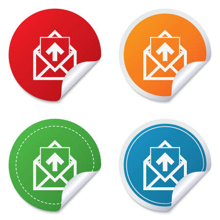 outgoing: Mail icon. Envelope symbol. Outgoing message sign. Mail navigation button. Round stickers. Circle labels with shadows. Curved corner. Vector