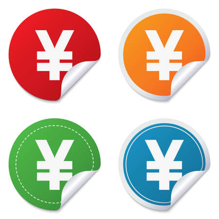jpy: Yen sign icon. JPY currency symbol. Money label. Round stickers. Circle labels with shadows. Curved corner.
