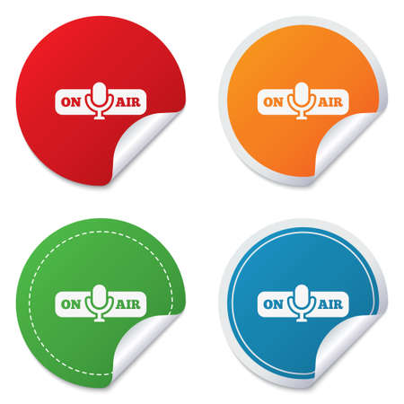 on air sign: On air sign icon. Live stream symbol. Microphone symbol. Round stickers. Circle labels with shadows. Curved corner.  Illustration