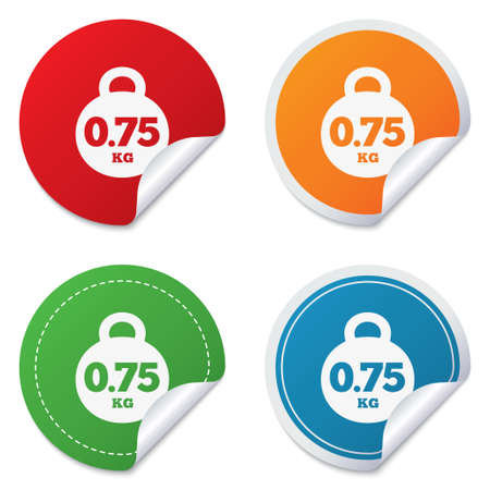 gram: Weight sign icon. 0.75 kilogram (kg). Envelope mail weight. Round stickers. Circle labels with shadows. Curved corner. Vector