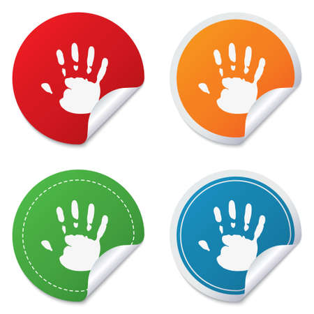 folded hands: Hand print sign icon. Stop symbol. Round stickers. Circle labels with shadows. Curved corner. Vector