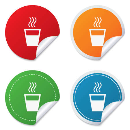 evaporation: Hot water sign icon. Hot drink glass symbol. Round stickers. Circle labels with shadows. Curved corner. Vector