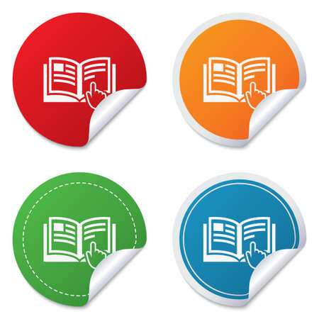 Instruction sign icon. Manual book symbol. Read before use. Round stickers. Circle labels with shadows. Curved corner. Vector Stock Vector - 27739047