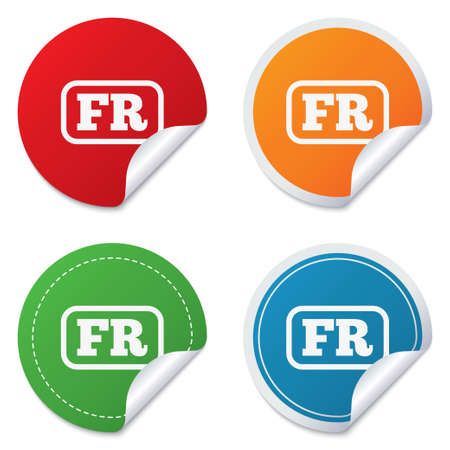 lang: French language sign icon. FR France translation symbol with frame. Round stickers. Circle labels with shadows. Curved corner. Vector