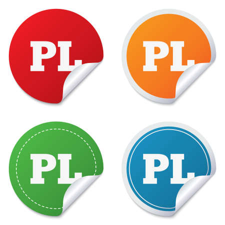 Polish language sign icon. PL translation symbol. Round stickers. Circle labels with shadows. Curved corner. Vector Vector