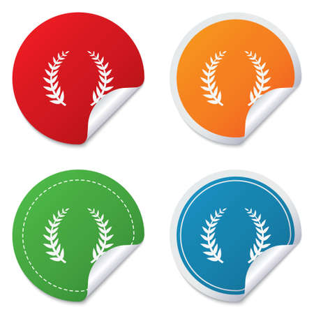 triumph: Laurel Wreath sign icon. Triumph symbol. Round stickers. Circle labels with shadows. Curved corner. Vector Illustration