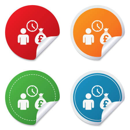 borrow: Bank loans sign icon. Get money fast symbol. Borrow money. Round stickers. Circle labels with shadows. Curved corner. Vector Illustration
