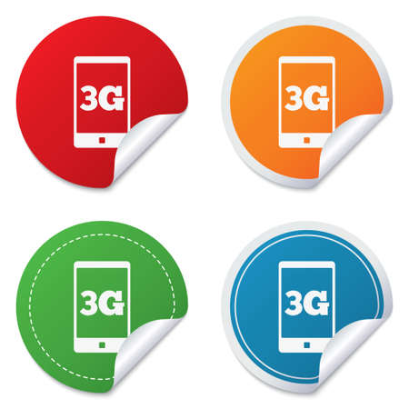 telecommunications technology: 3G sign icon. Mobile telecommunications technology symbol. Round stickers. Circle labels with shadows. Curved corner. Vector Illustration