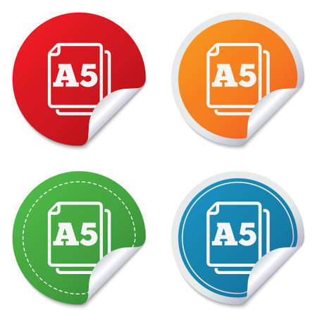 a5: Paper size A5 standard icon. File document symbol. Round stickers. Circle labels with shadows. Curved corner. Vector