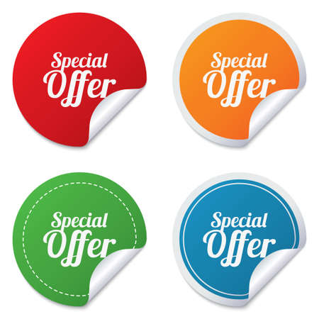 special offer: Special offer sign icon. Sale symbol. Round stickers. Circle labels with shadows. Curved corner. Vector